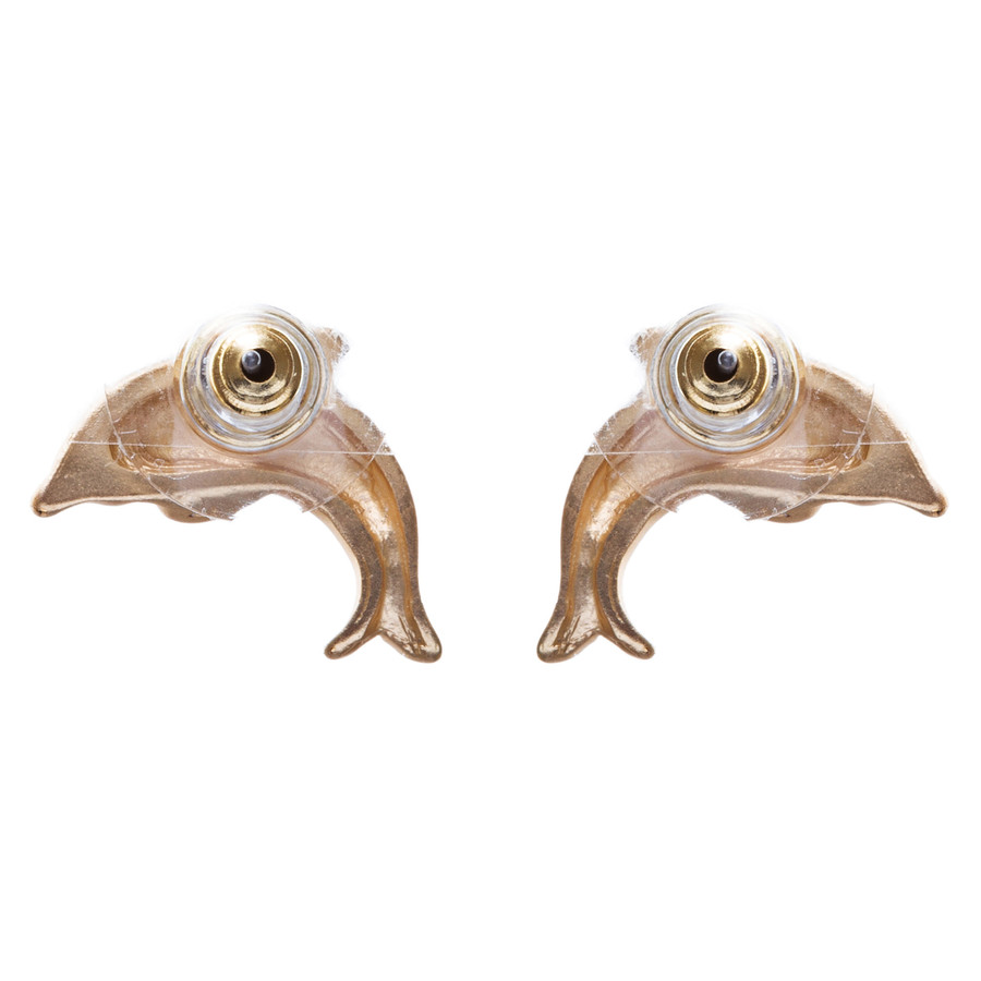 Fashion Chic Crystal Rhinestone Stunningly Carved Dolphin Stud Earrings E909 GD
