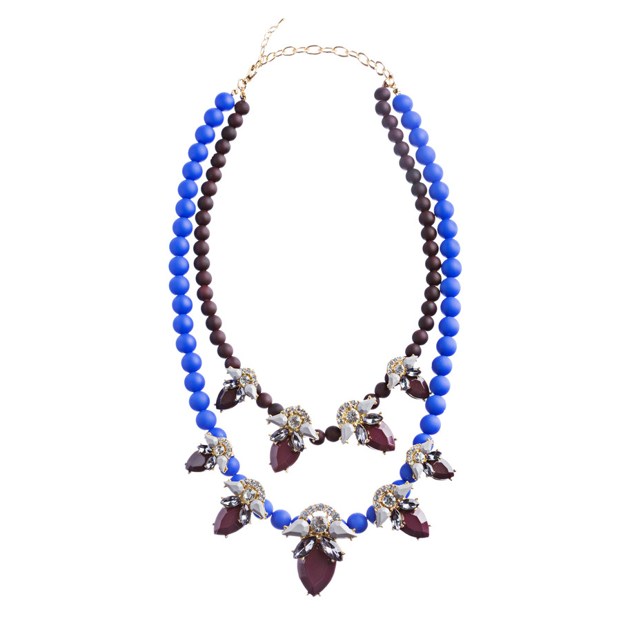 Stunning Double Chain Crystal Rhinestone Tear Drop Statement Necklace JN243 BRWN