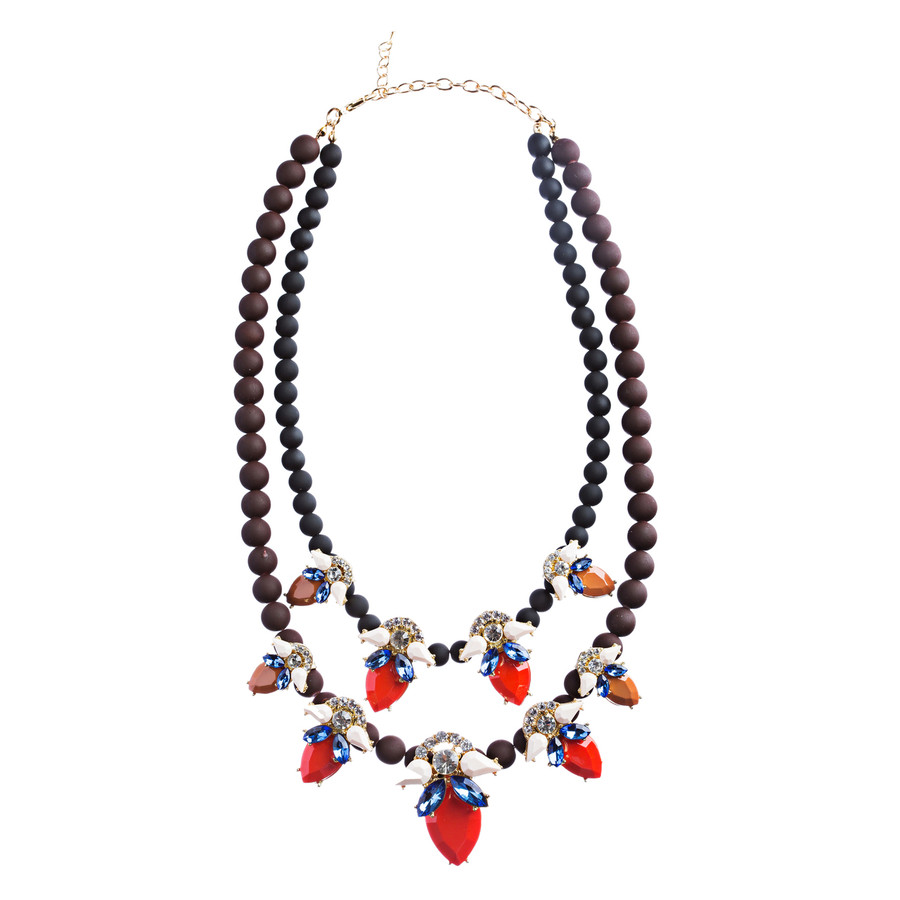 Stunning Double Chain Crystal Rhinestone Tear Drop Statement Necklace JN243 Red