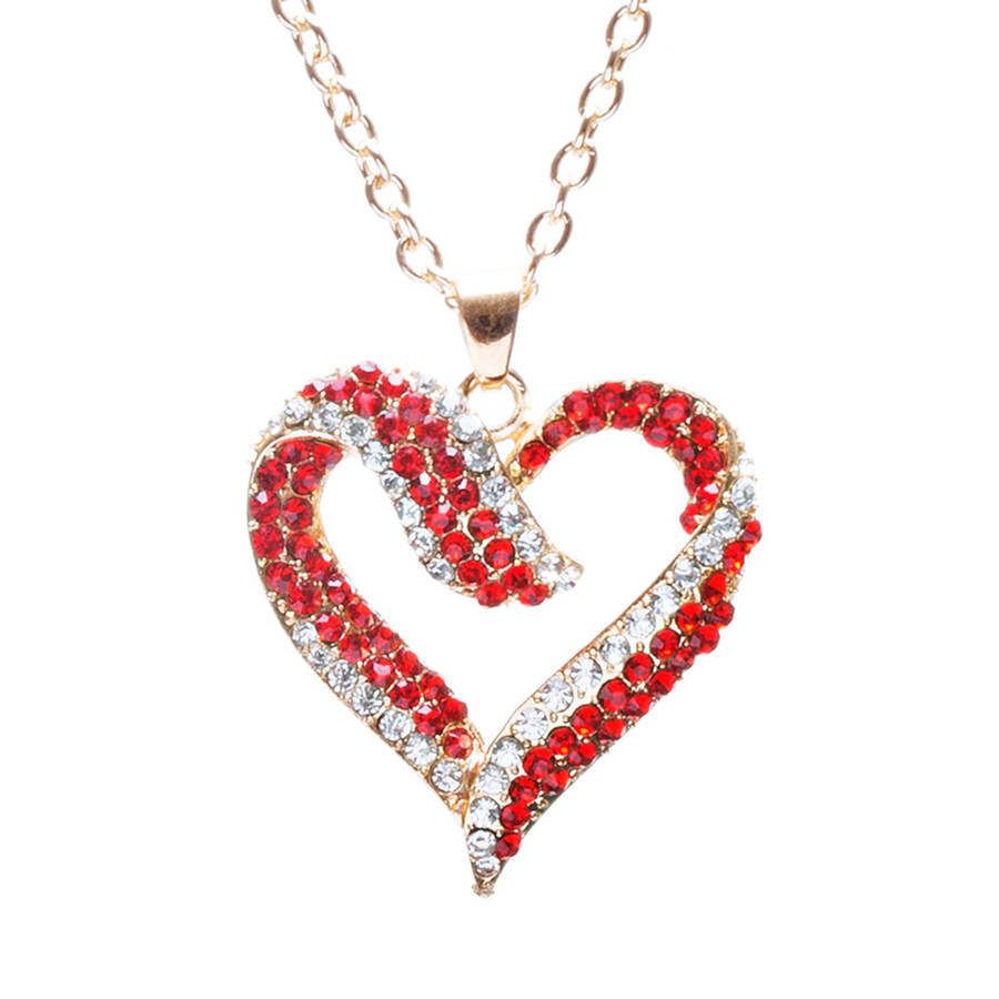 Valentines Jewelry Crystal Rhinestone Beautiful Heart Pendant Necklace N90 GDRed