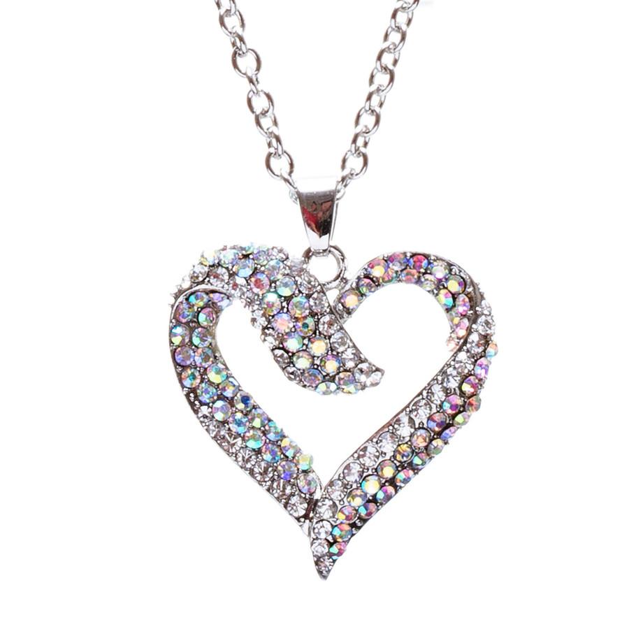 Valentines Jewelry Crystal Rhinestone Beautiful Heart Pendant Necklace N90 SV