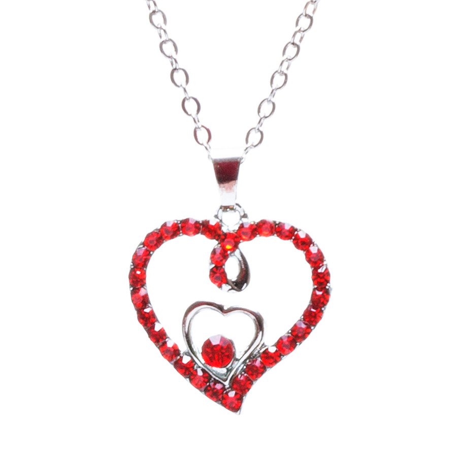Valentines Jewelry Crystal Rhinestone Gorgeous Hearts Necklace N91 SV Red