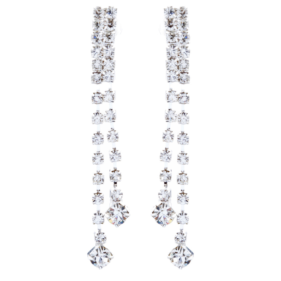 Bridal Wedding Jewelry Crystal Rhinestone Simple Linear Drop Earrings E1028 SV