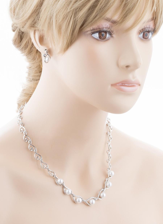 Bridal Wedding Jewelry Crystal Rhinestone Elegant Pearl Necklace Set J718 Silver