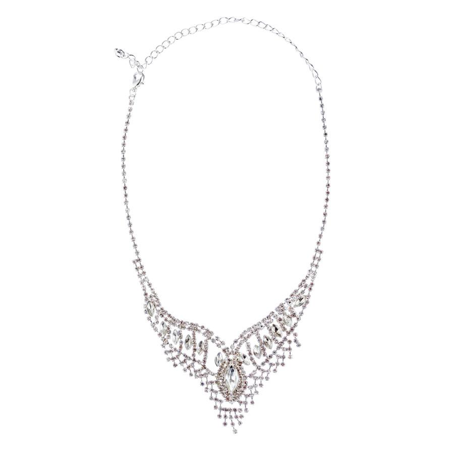 Bridal Wedding Jewelry Crystal Rhinestone Stunning Necklace Set J720 Silver