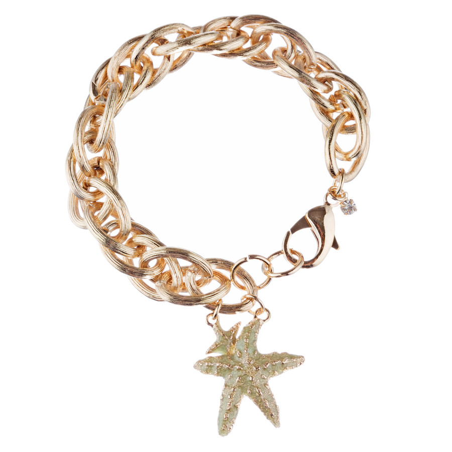 Ocean Starfish Dangling Charm Crystal Link Fashion Bracelet B517 Gold Green