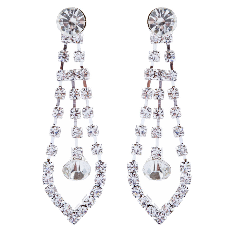 Bridal Wedding Jewelry Crystal Rhinestone Prom Necklace Earrings Set J725 Silver