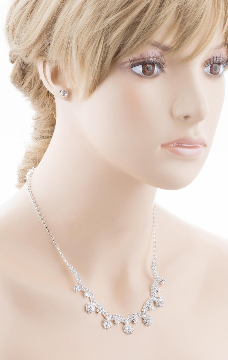 Bridal Wedding Jewelry Crystal Rhinestone Prom Necklace Earrings Set J727 Silver