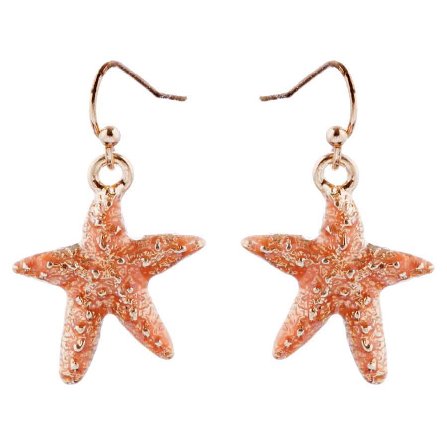 Fun Ocean Inspired Sea Star Pendant Necklace Earrings Set JN282 Gold Green