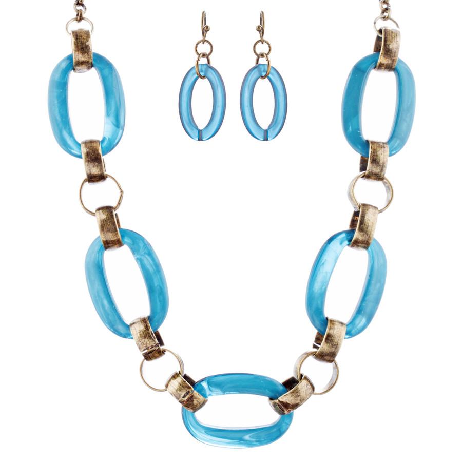 Fashion Links Pattern Design Statement Necklace Earrings Set JN283 Blue