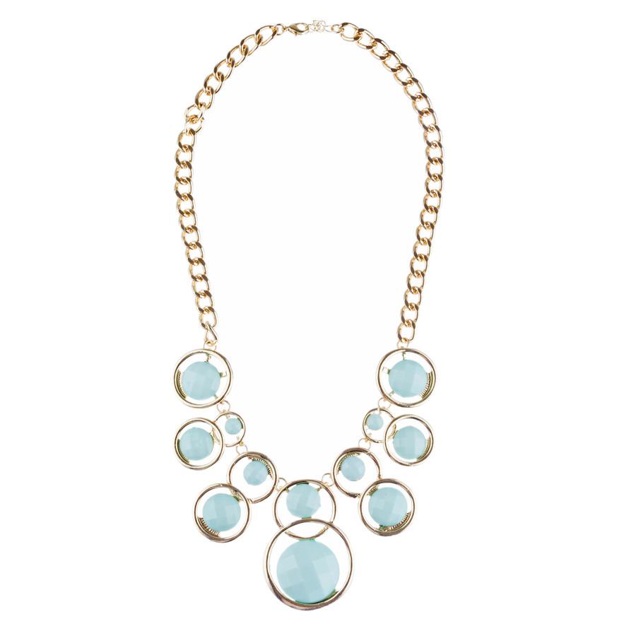 Striking Chic Trendy Fashion Statement Necklace Jewelry Set JN292 Gold Mint