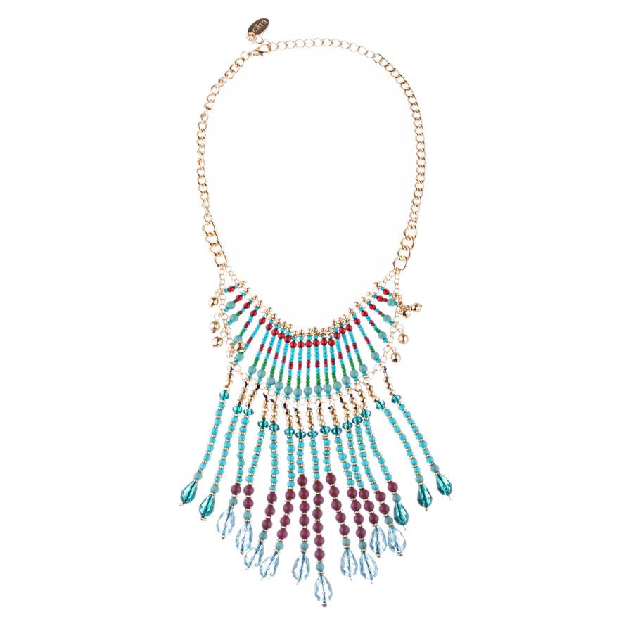Magnificent Drape Design Bead Fashion Statement Necklace N101 Turquoise