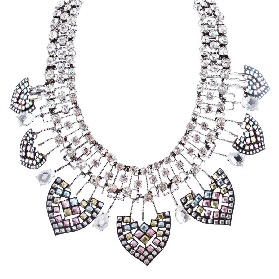 Fascinating Crystal Rhinestone Bold Fashion Statement Necklace N102 Silver