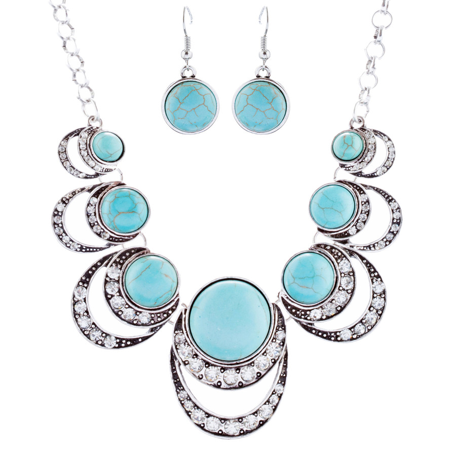 Exquisite Crystal Stone Bead Bold Statement Necklace Set N106 Turquoise