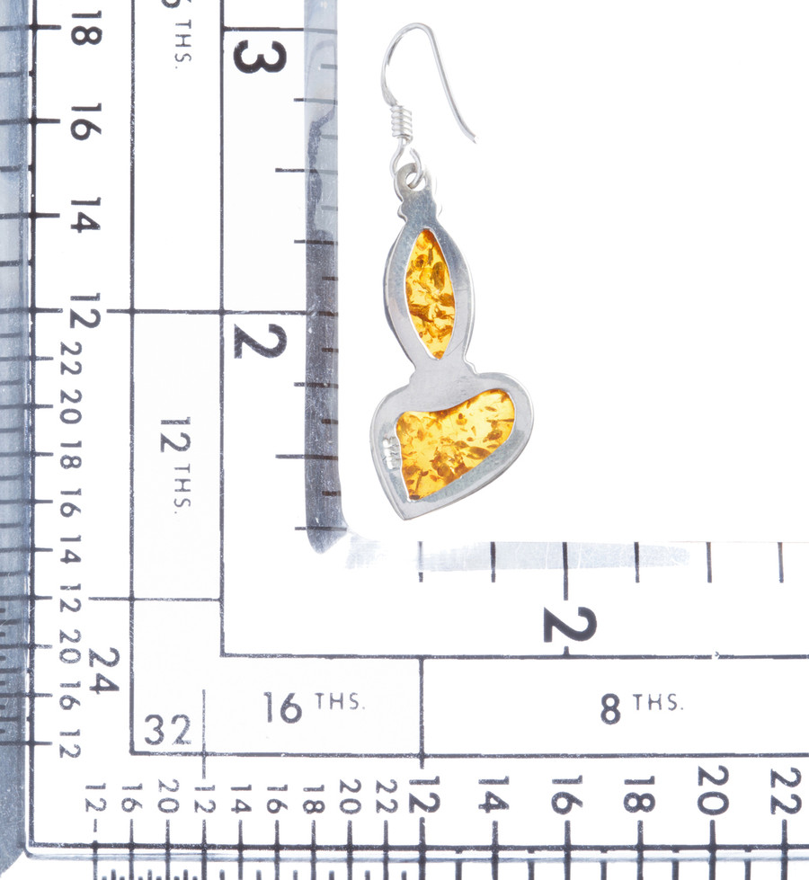 925 Sterling Silver Natural Gemstones Amber Dangle Earrings FJSVE2148