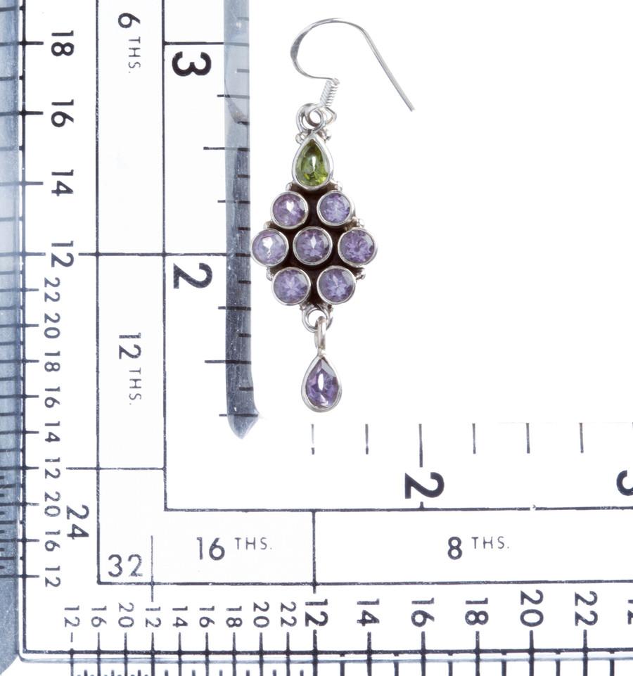 925 Sterling Silver Natural Gemstones Amethyst Periodot Dangle Earring FJSVE2152