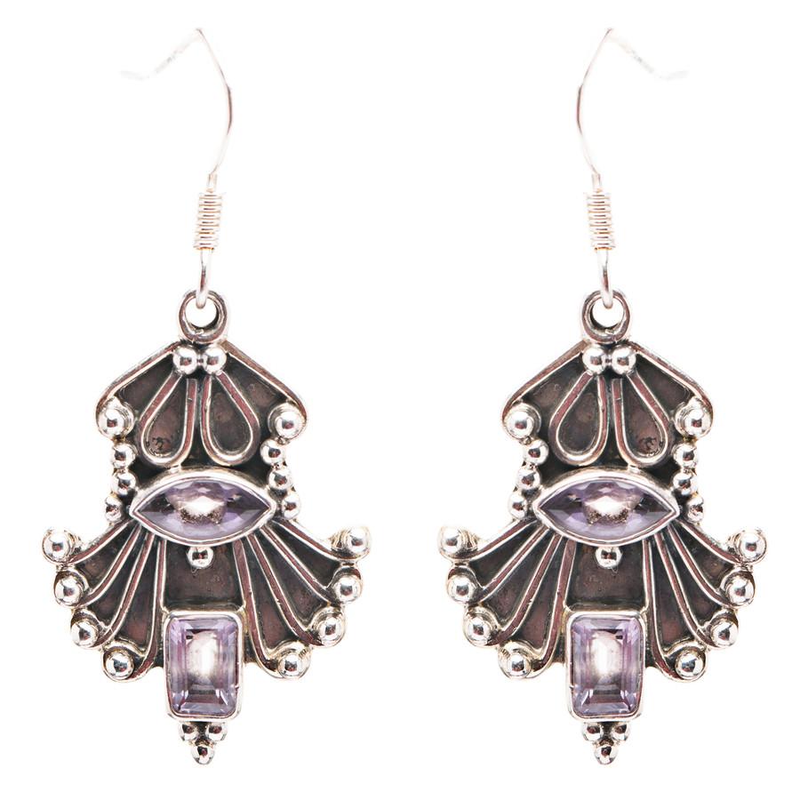 925 Sterling Silver Natural Gemstones Amethyst Dangle Earrings FJSVE2156