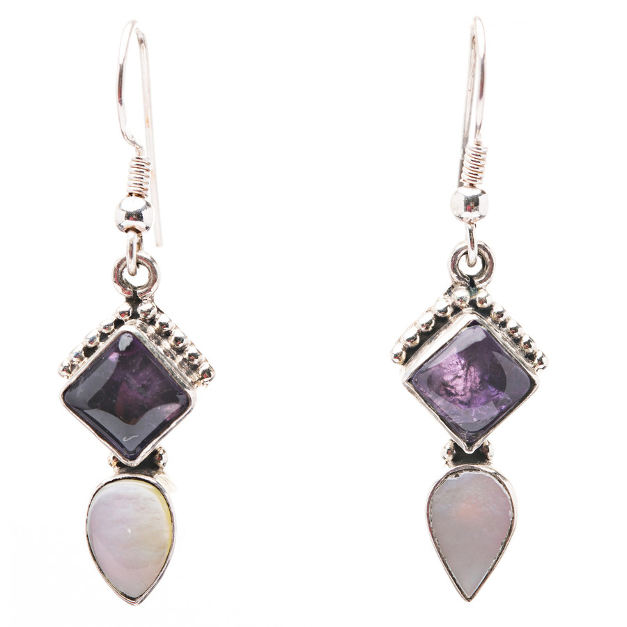 925 Sterling Silver Natural Gemstones Amethyst Abalone Dangle Earrings FJSVE2157