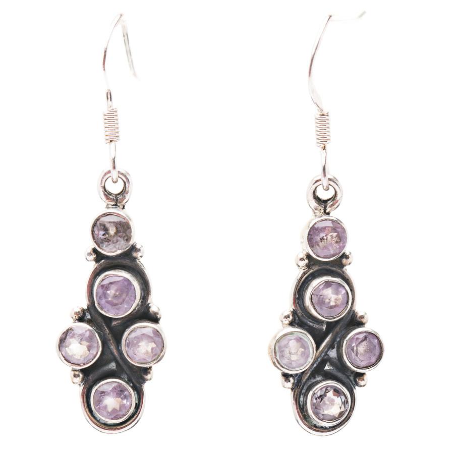 925 Sterling Silver Natural Gemstones Amethyst Dangle Earrings FJSVE2161