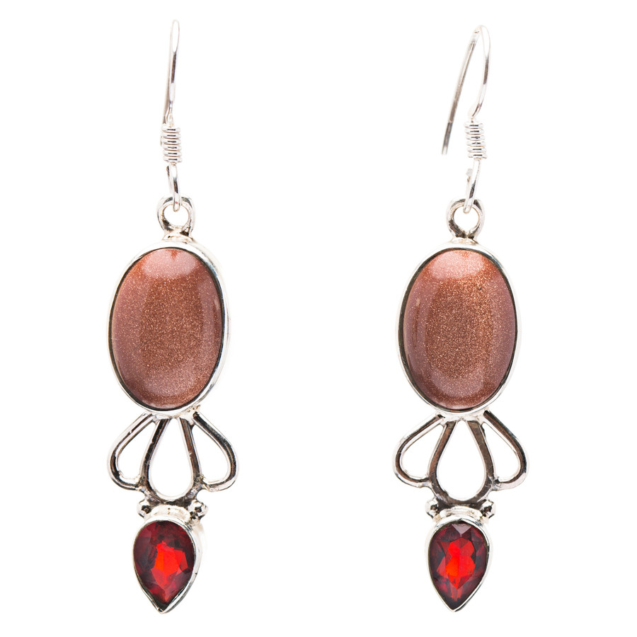 925 Sterling Silver Natural Gemstones Goldstone Garnet Dangle Earrings FJSVE2163