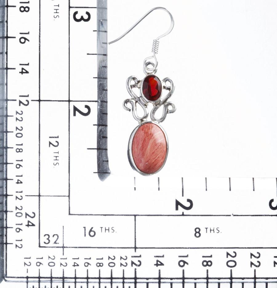 925 Sterling Silver Natural Gemstones Jasper Garnet Dangle Earrings FJSVE2183
