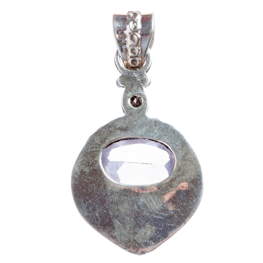 925 Sterling Silver Natural Gemstones Pink Amethyst Pendant FJSVP2084