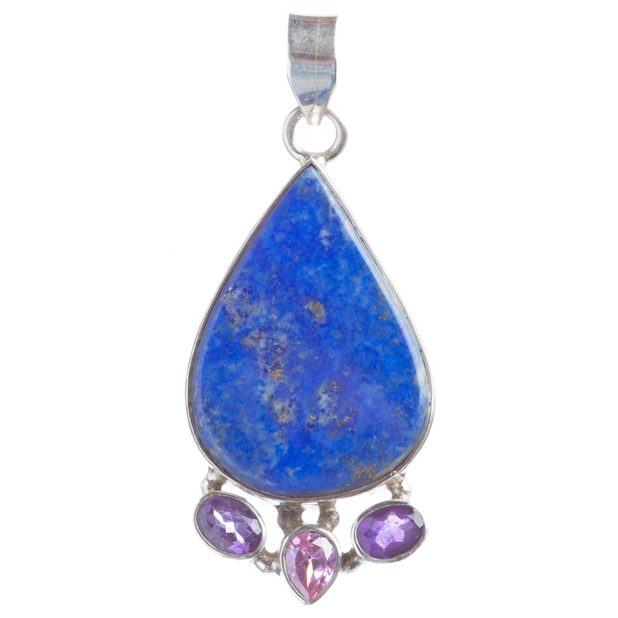 925 Sterling Silver Natural Gemstones Lapis Lazuli Amethyst Pendant FJSVP2087