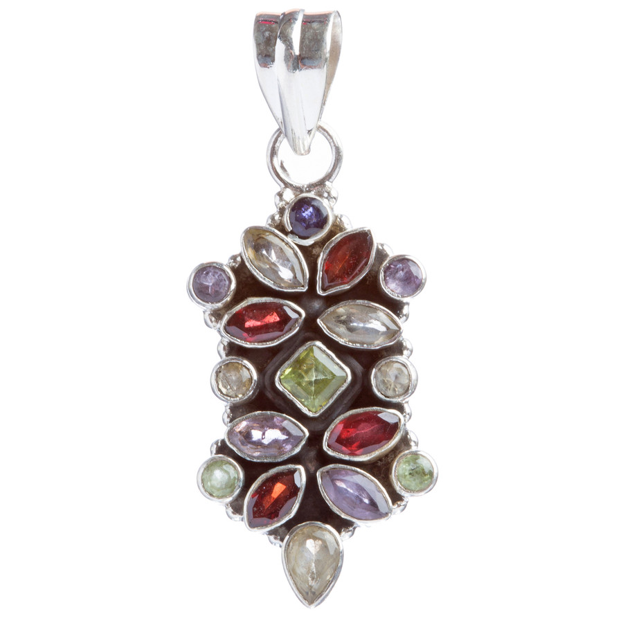 925 Sterling Silver Natural Gemstones Multigems Pendant FJSVP2094