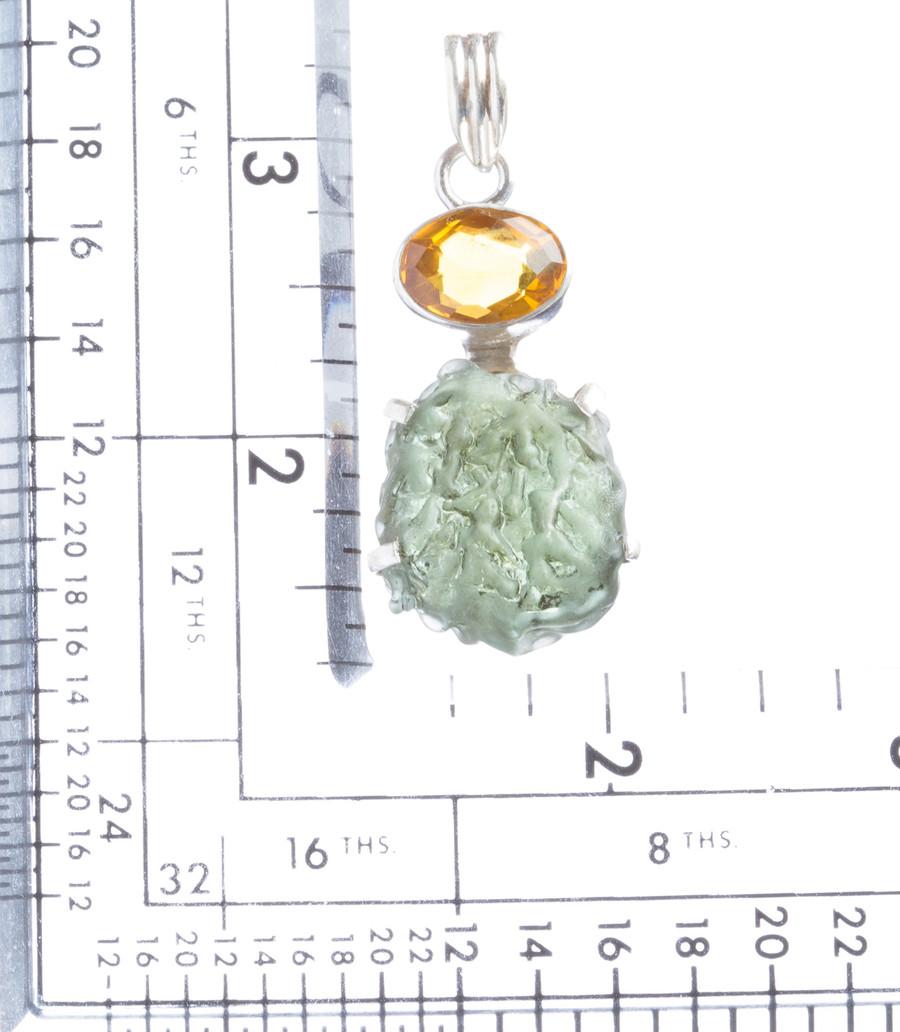 925 Sterling Silver Natural Gemstones Moldavite Topaz Pendant FJSVP2099