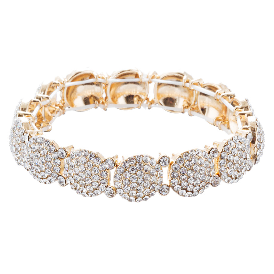 Bridal Wedding Jewelry Crystal Rhinestone Gorgeous Stretch Bracelet B527 Gold