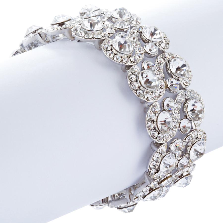 Bridal Wedding Jewelry Crystal Rhinestone Dazzling Stretch Bracelet B528 Silver