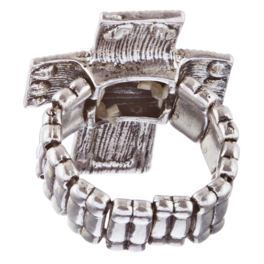 Cross Jewelry Sparkle Crystal Rhinestone Enamel Stretch Fashion Ring R229 Blue
