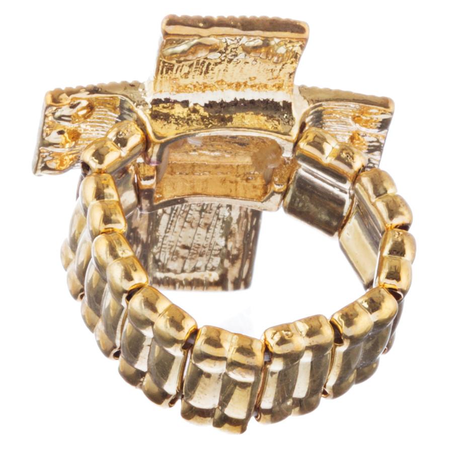 Cross Jewelry Sparkle Crystal Rhinestone Enamel Stretch Fashion Ring R229 Brown