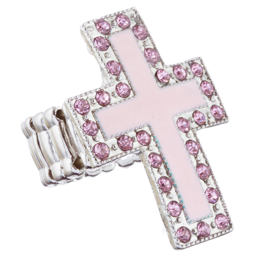 Cross Jewelry Sparkle Crystal Rhinestone Enamel Stretch Fashion Ring R229 Pink