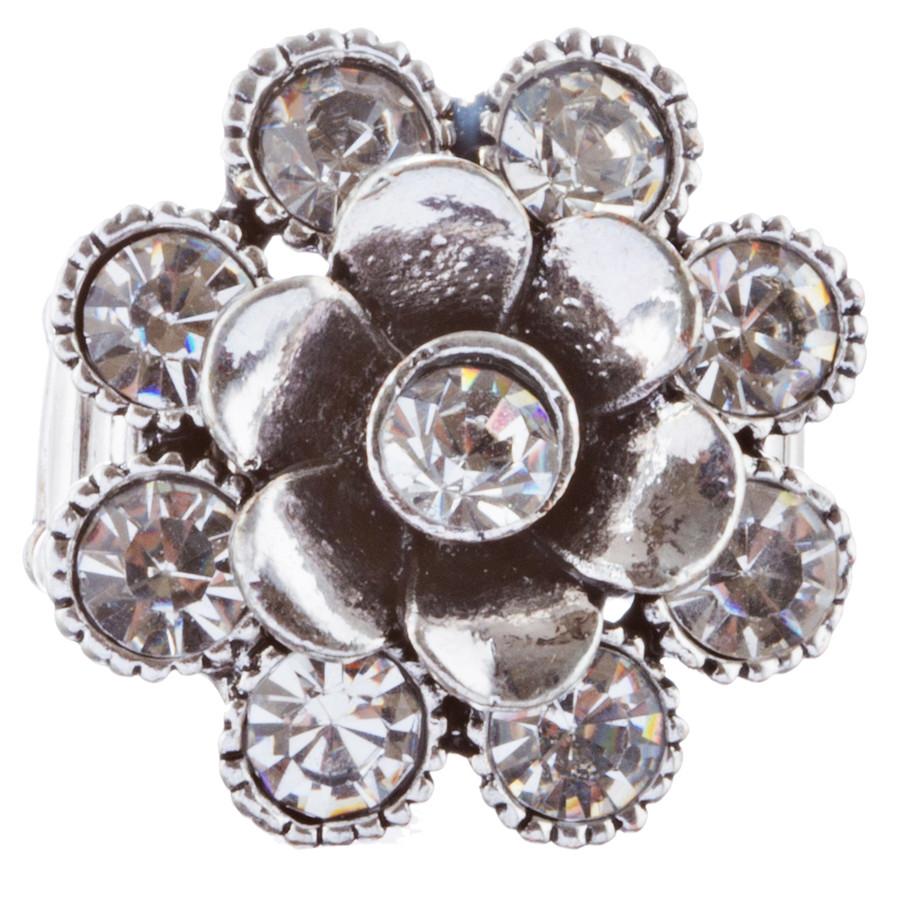 Beautiful Floral Design Crystal Rhinestones Fashion Stretch Ring R231 Silver