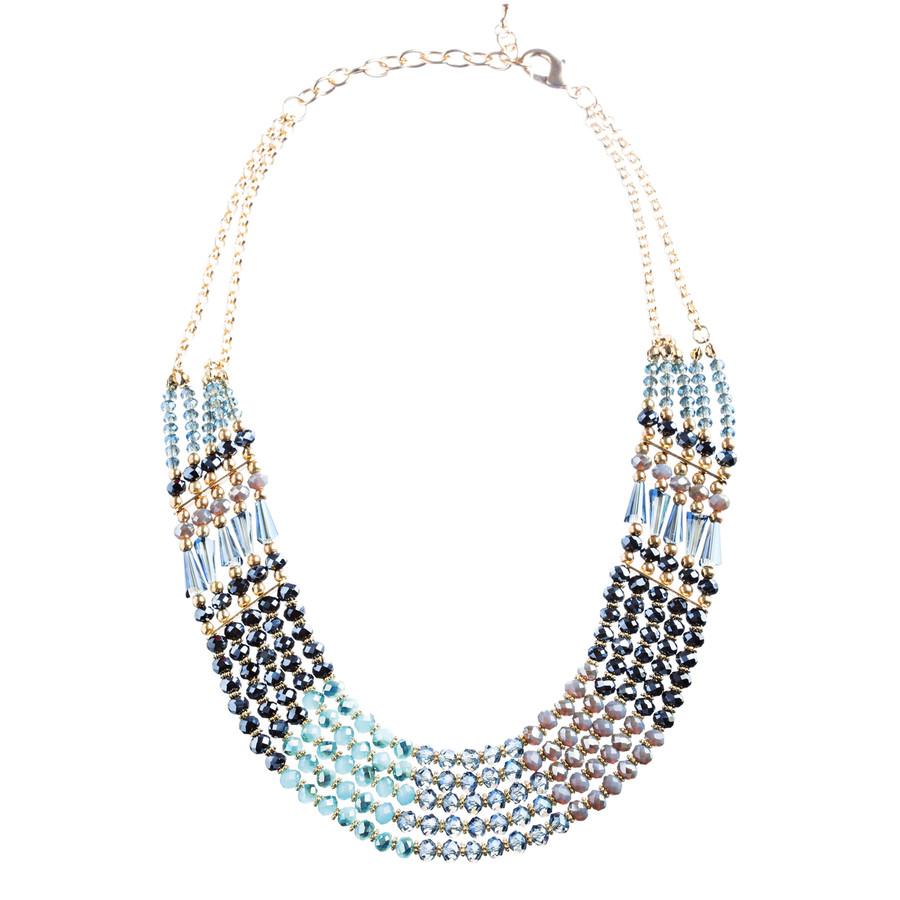 Beautiful Multi Strands Layered Beads Statement Jewelry Set JN200 Gold Blue