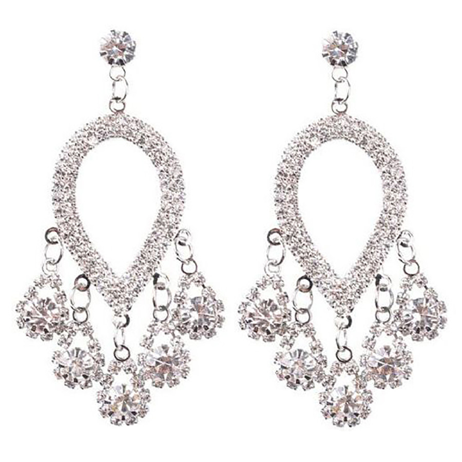 Bridal Wedding Jewelry Prom Crystal Rhinestone Fashion Dangle Earrings E1147 SV