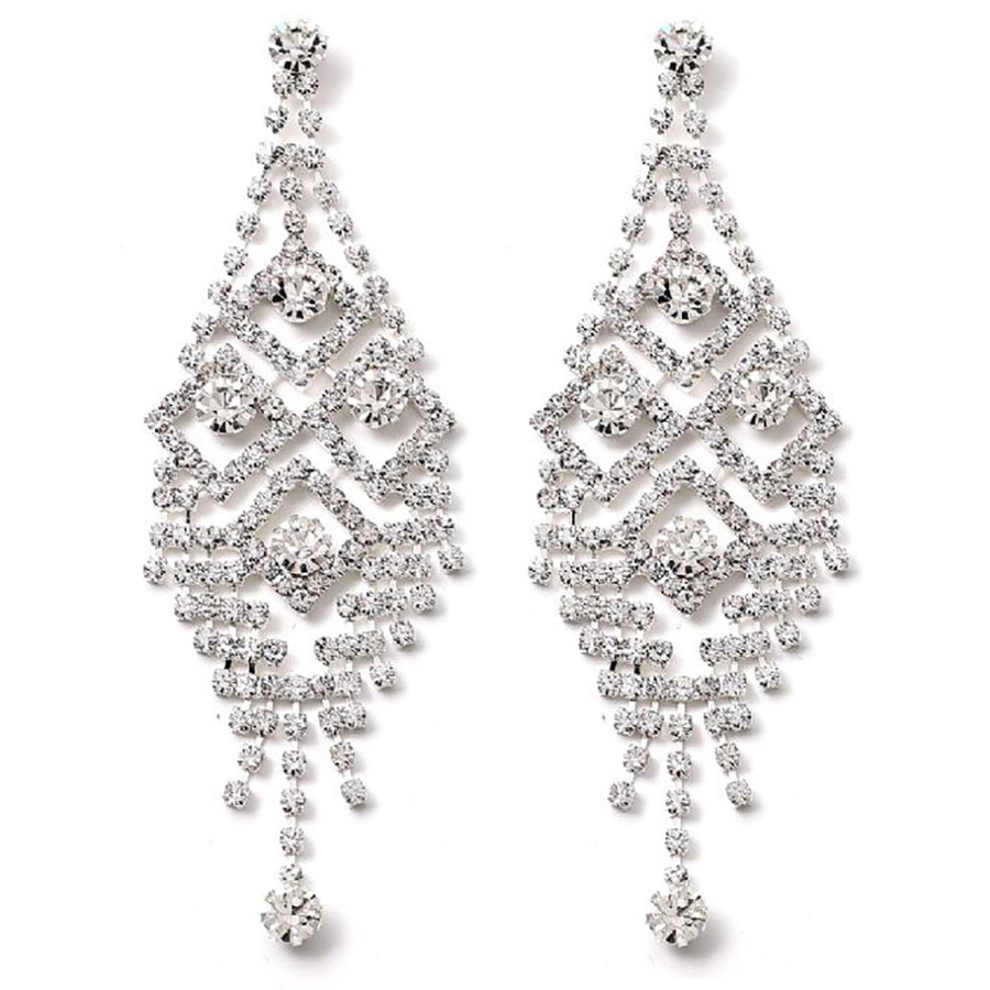 Bridal Wedding Jewelry Prom Crystal Rhinestone Stunning Dangle Earrings E1148 SV