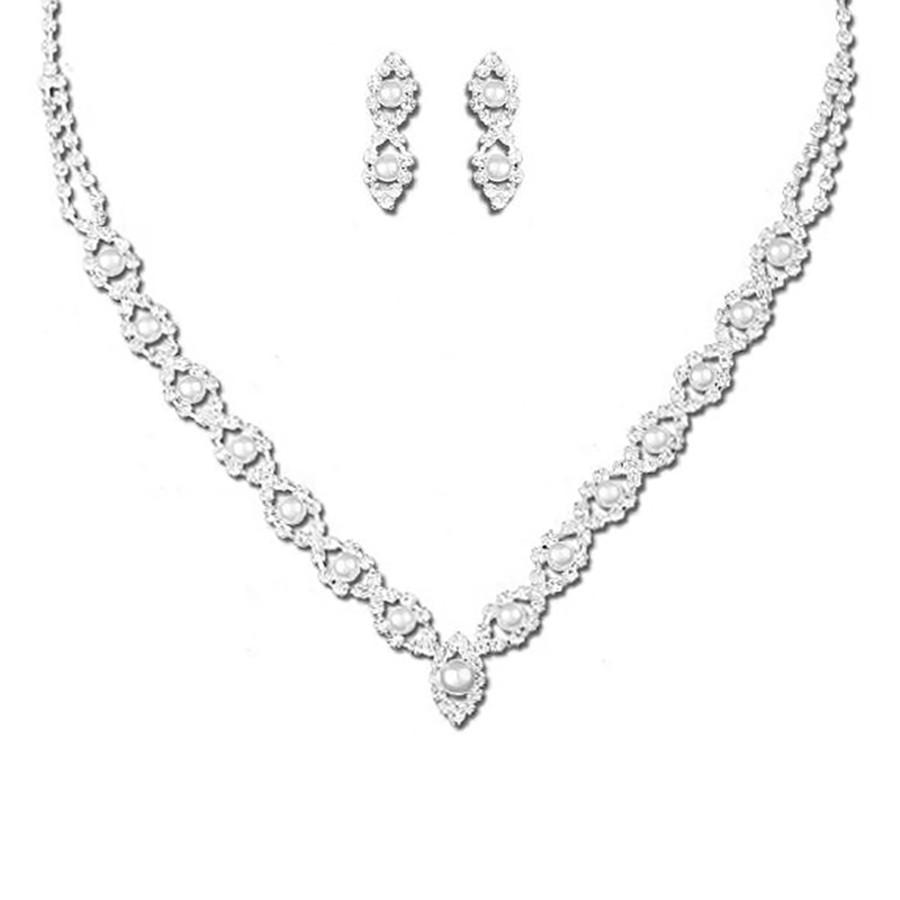 Bridal Wedding Prom Jewelry Set Crystal Rhinestone Pearl Elegant Necklace J734