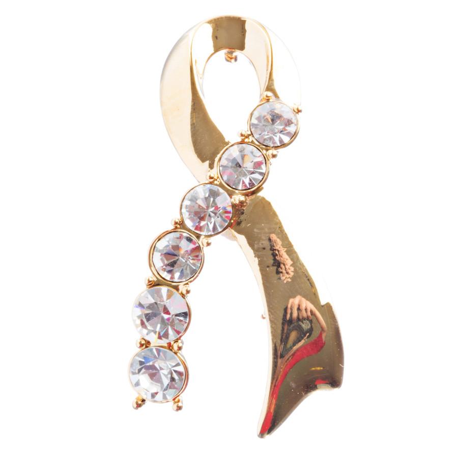 Pink Ribbon Jewelry Breast Cancer Awareness Ribbon Charm Brooch Pin BH145 Gold