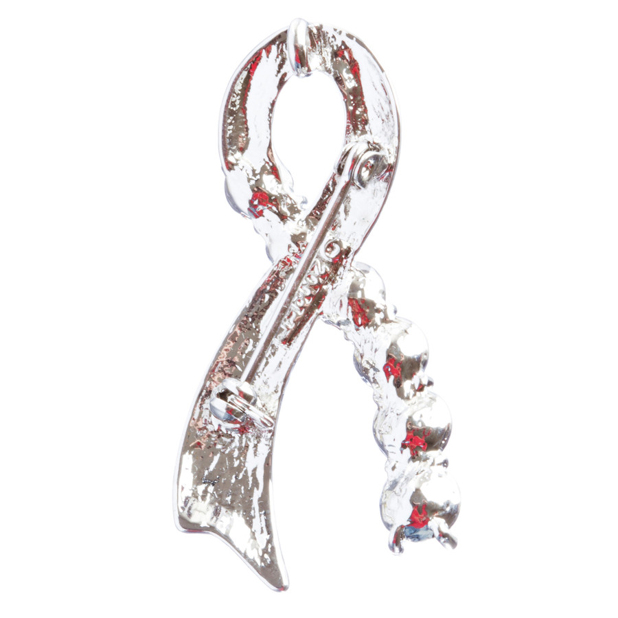 Pink Ribbon Jewelry Breast Cancer Awareness Ribbon Charm Brooch Pin BH145 Silver
