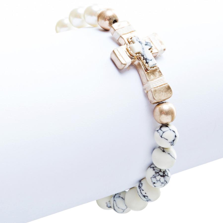 Cross Jewelry Appealing Stone Cross Stretch Link Bracelet B493 Ivory