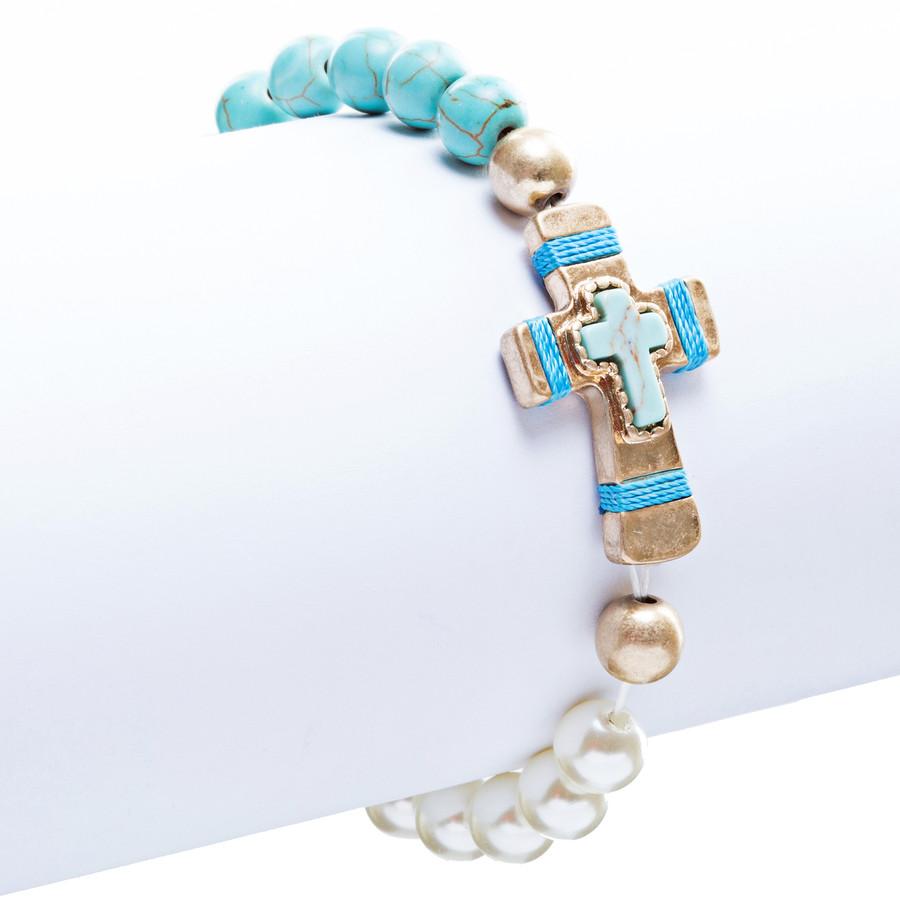 Cross Jewelry Fascinating Stone Cross Stretch Link Bracelet B493 Turquoise