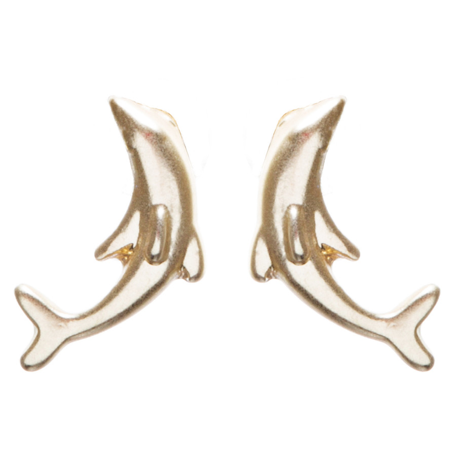 Appealing Design Dolphin Stud Screw Back Earrings E901 Gold