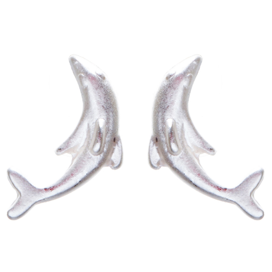 Appealing Design Dolphin Stud Screw Back Earrings E901 Silver