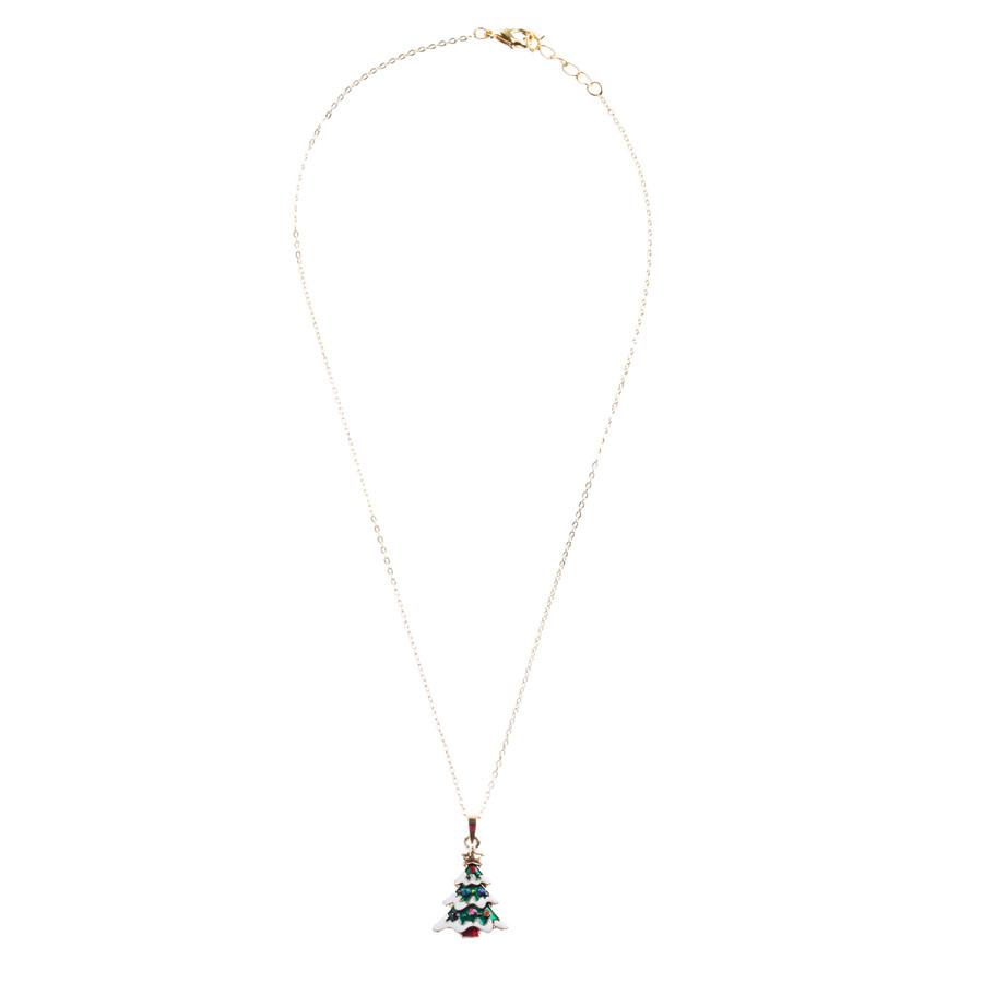 Christmas Jewelry Crystal Rhinestone Joyful Holiday Tree Necklace N87 Green