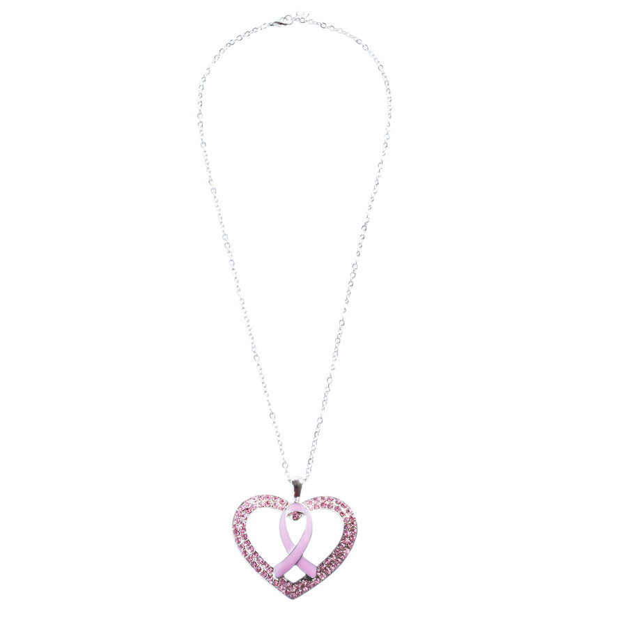 Pink Ribbon Jewelry Crystal Rhinestone Fashionable Heart Necklace N88 Pink