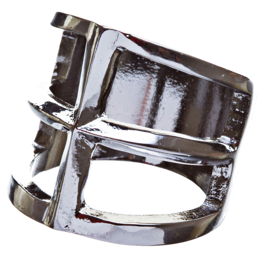 Trendy Square Shaped Hollow Design Statement Fashion Size 8 Ring R215 Black