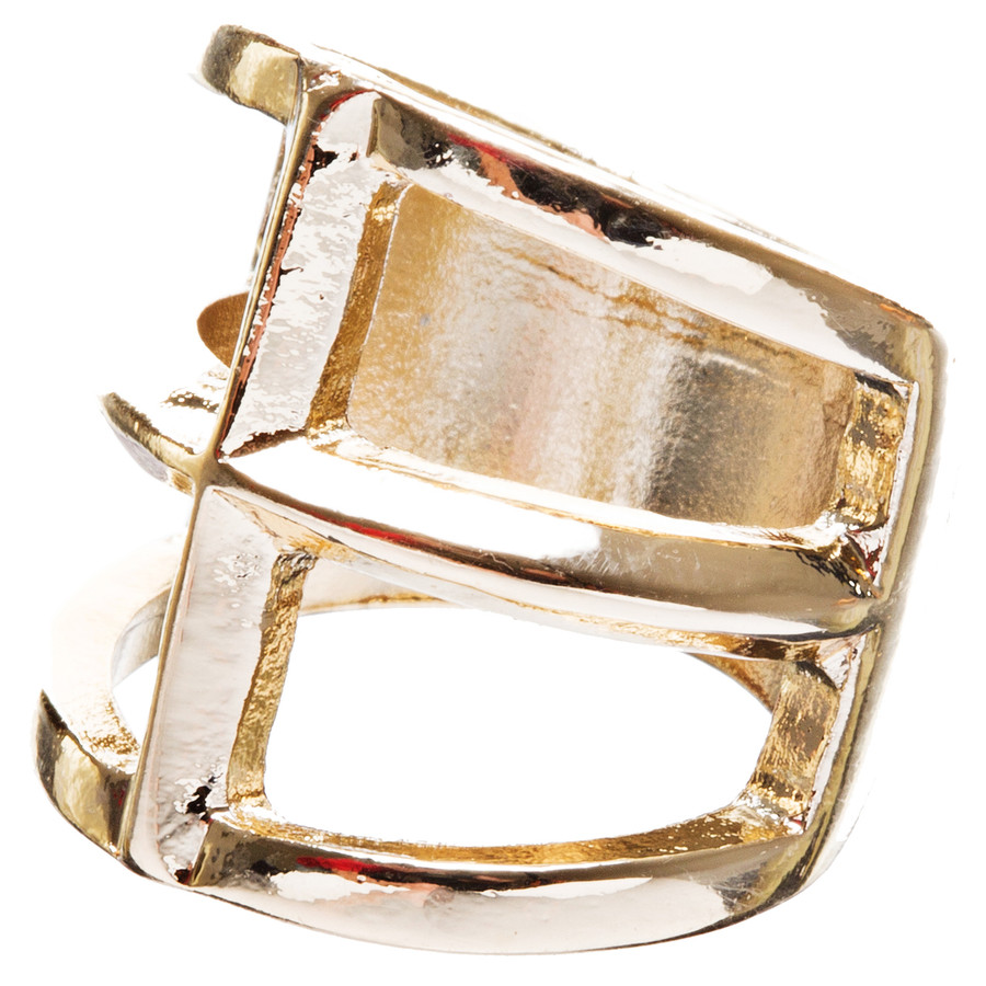 Trendy Square Shaped Hollow Design Statement Fashion Size 8 Ring R215 Gold