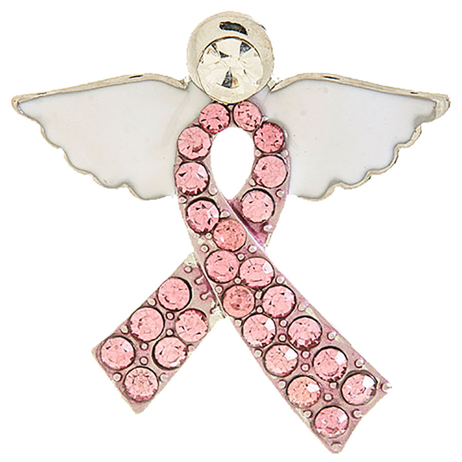 Pink Ribbon Jewelry Wing Crystal Breast Cancer Awareness Brooch Pin BH202 Silver